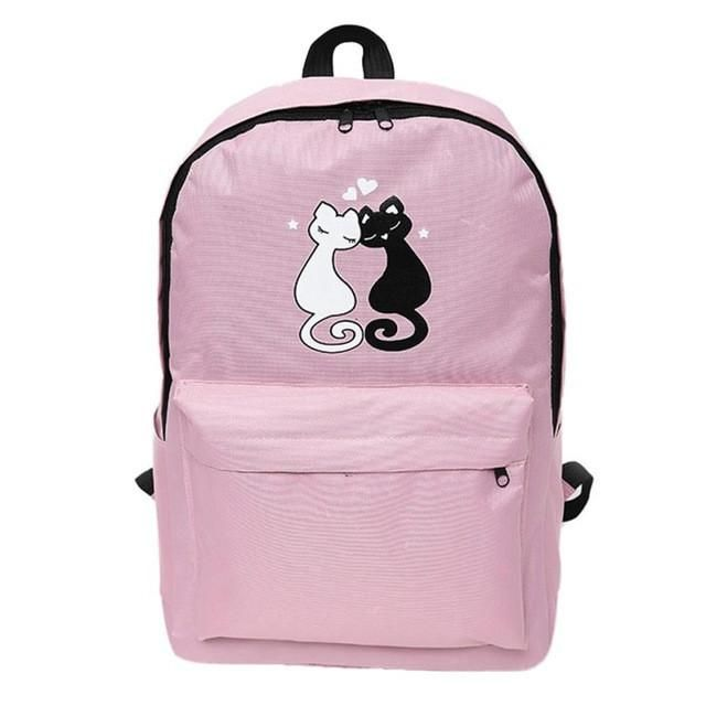 d7a3ffca75 Couple With Cat Travel Satchel School Bag Backpack Rucksack