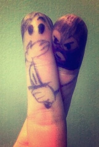 when one finger crosses another. lol.