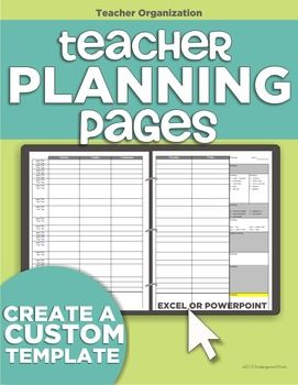 Based on teacher request, this customizable template allows you to use Excel or PowerPoint to make yourself planning pages! No more impersonal plan books - you can create your own! Designed to lay flat in your open binder and show your entire week over two pages with plenty of space to write and add standards.Its highly recommended that you are familiar with either PowerPoint or Excel (or willing to try!).