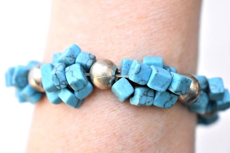 Faux Turquoise Stretch Square ClusterBeaded Statement Bracelet Southwest Jewelry #Unbranded #Statement