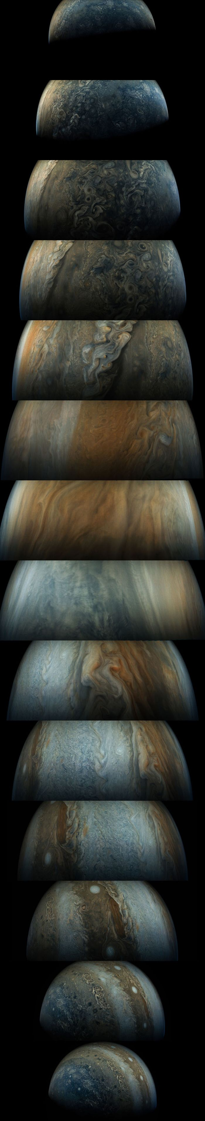 This sequence of enhanced-color images shows how quickly the viewing geometry changes for NASA's Juno spacecraft as it swoops by Jupiter. The images were obtained by JunoCam. Once every 53 days the Juno spacecraft swings close to Jupiter, speeding over its clouds. In just two hours, the spacecraft travels from a perch over Jupiter's north pole through its closest approach (perijove), then passes over the south pole on its way back out.