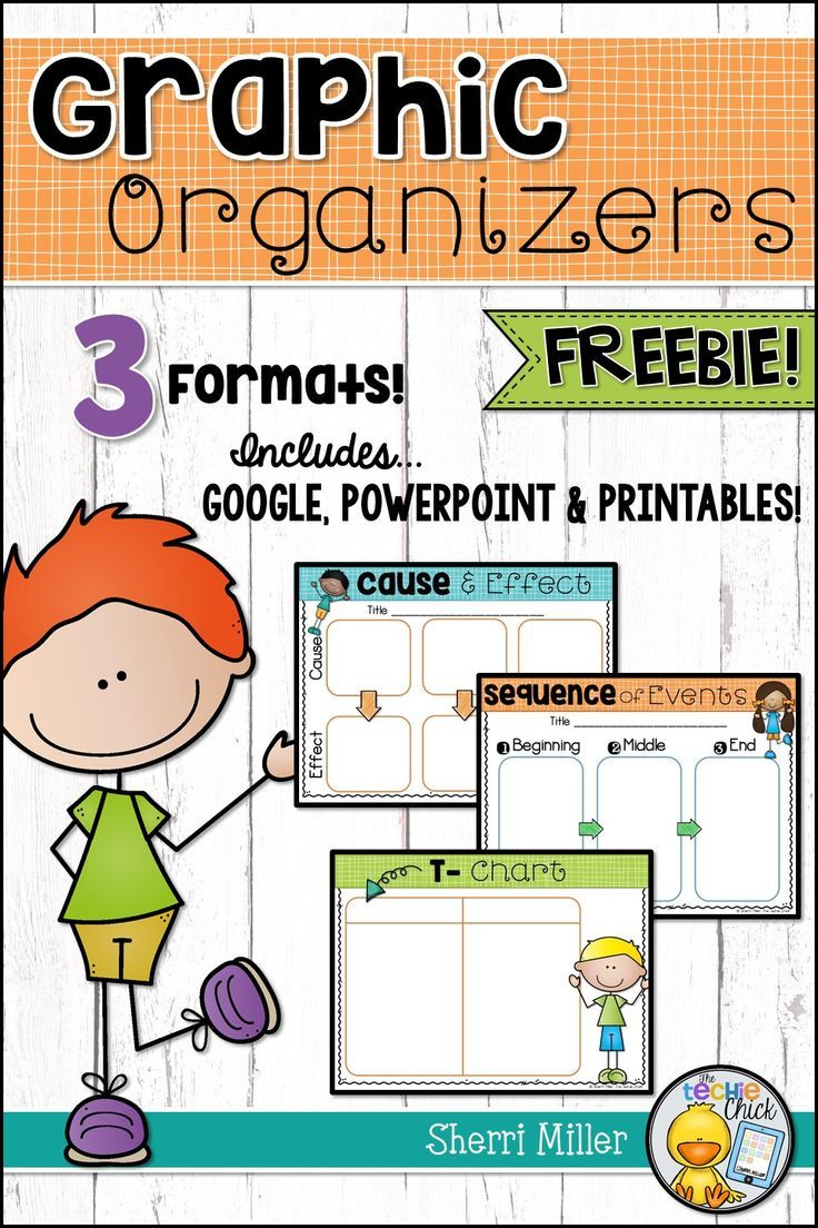 These FREE graphic organizers are great to use with any content. There are 3 organizers in the set… Cause & Effect, Sequence of Events and T-Chart. They also come in 3 formats… Google Slides, PowerPoint and Printable.  #tpt #graphicorganizer #googleclassroom