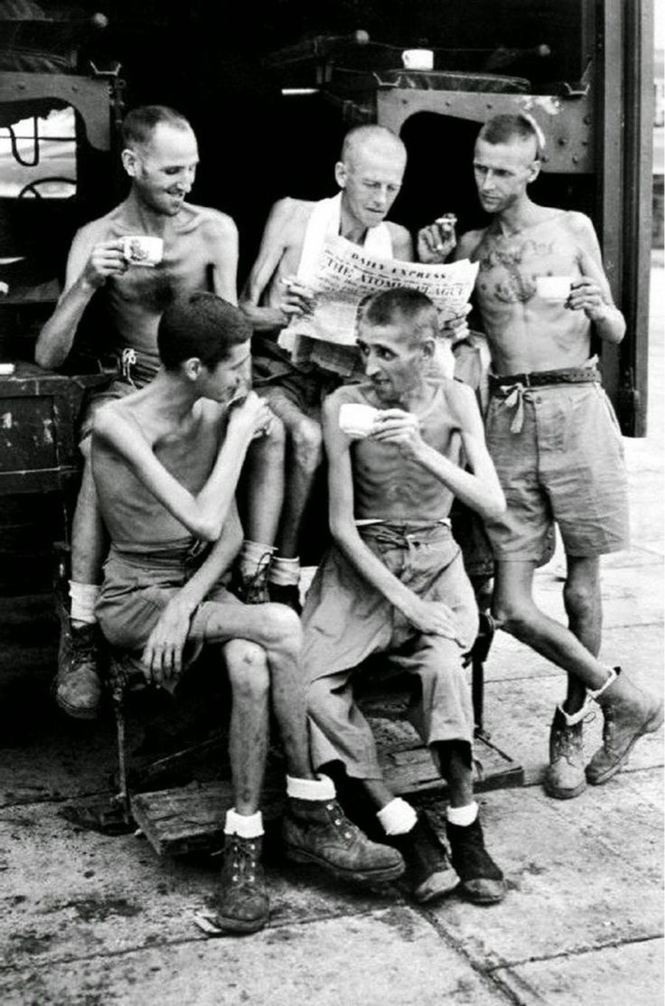 after their release from Japanese captivity in Singapore, 1945