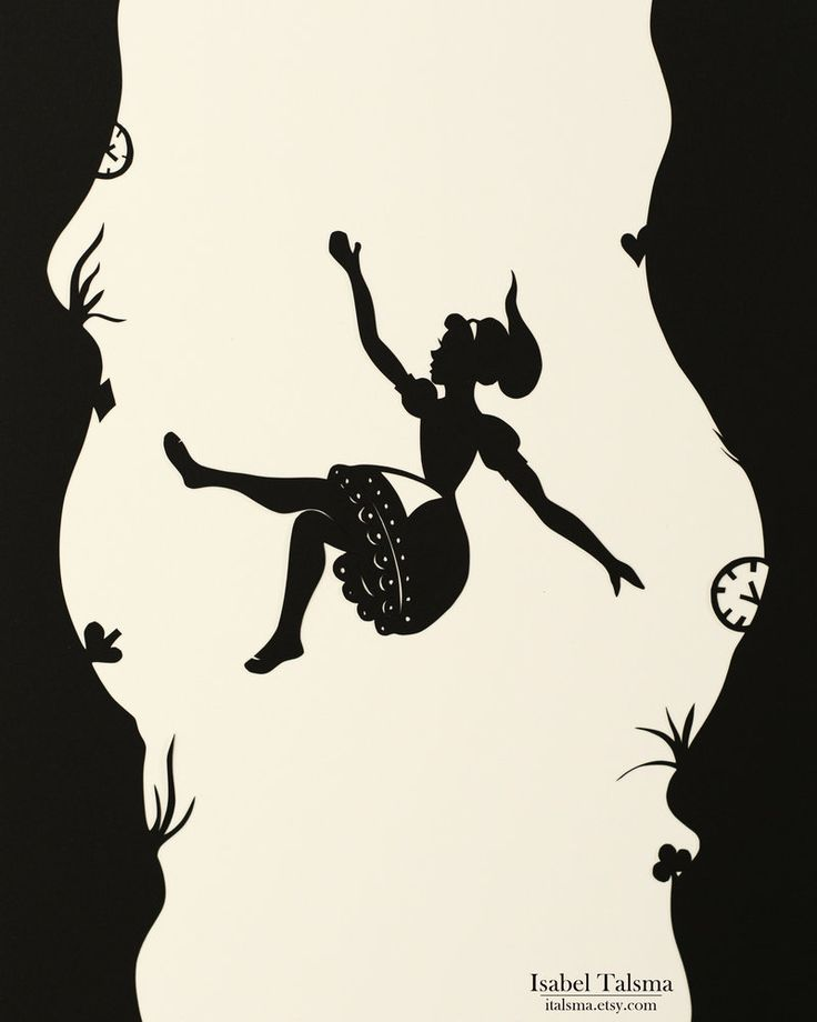 "From the artist: ""Handcut illustration (4 of 4) of Alice in Wonderland for a local charity event. ""The rabbit-hole went straight on like a tunnel for some way, and then dipped suddenly down, so suddenly that Alice had not a moment to think about stopping herself before she found herself falling down a very deep well."""""