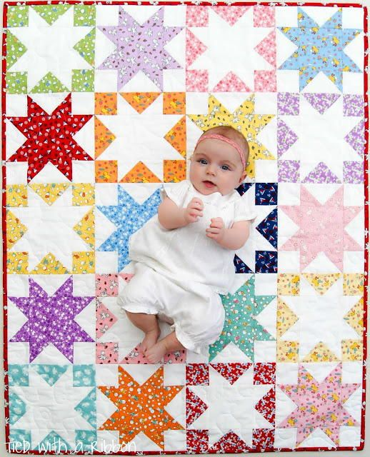 Make a splash at your next baby shower by making a gorgeous traditional baby quilt with this Shadow Stars Baby Quilt Tutorial. You can use traditional quilting techniques, including star blocks and flying geese patterns, to create a rainbow of color