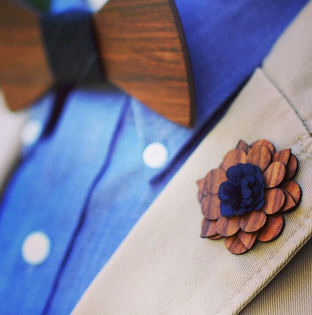 Fricken awesome wooden bow tie and lapel flower. Photo courtesy of Two Guys Bow Ties http://www.woodenbowties.com