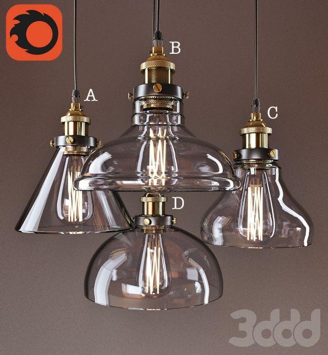3d модели: Люстры - Американские старинные подвесные светильники