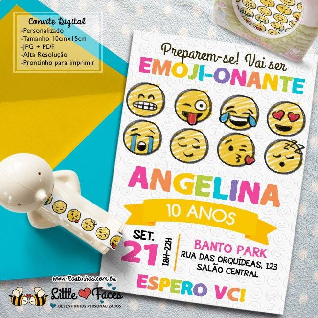 Convite Aniversário Emojis para imprimir