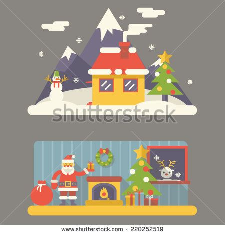 Flat Design New Year Landscape and Room Situation Symbols Christmas Accessories Icons Greeting Card Elements Trendy Modern Vector Illustration