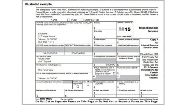 1099 Form 2016 Download Printable Irs Form 1099 Misc For 2015 For