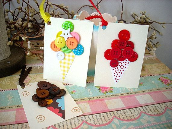 Ice Cream Cone Gift Wrap Tags: Cream Buttons, Gifts Cards, Gifts Ideas, Buttons Ice, Ice Cream Crafts, Cones Gifts, Gifts Tags, Packaging Tags Wraps, Ice Cream Cones