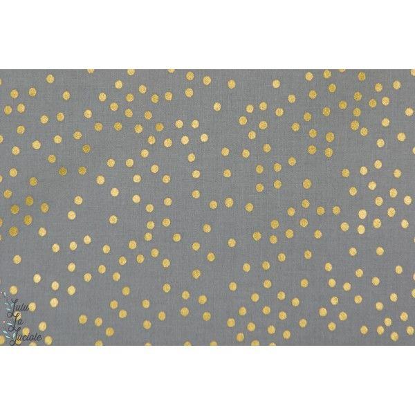 tissu coton métallique Popeline Pois doré Sleep Tight mode couture femme, cotton steel cs