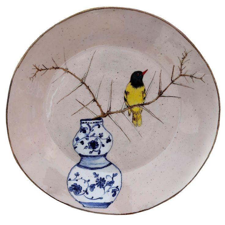 An original ceramic work by Lisa Ringwood entitled: 'Black Headed Oriole and Thorn branch (pink round platter)', ceramic, d 35cm. For more please visit www.finearts.co.za #ceramic #LisaRingwood #Ceramicist #SouthAfricanArt #SouthAfricanArtist #ChineseCeramics #InteriorDesign #Decor #Decoration #Landscape #Fauna #Flora #Birdlife #VOCware