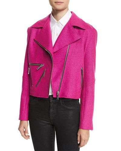 -6TWA Public School Rodney Felted Biker Jacket, Pink Amber Cotton Poplin Shirt, White
