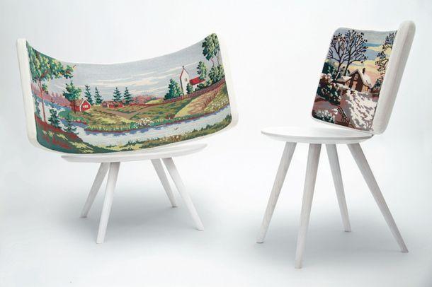 Стул Embroidery, крашеное дерево и гобелен