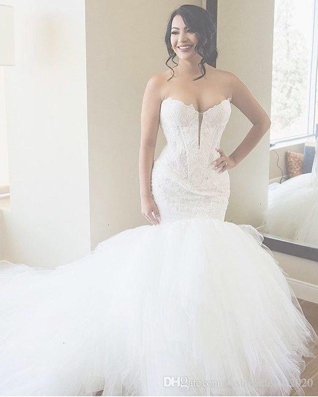 Luxury Ivory Lace Mermaid Wedding Dresses Sweetheart