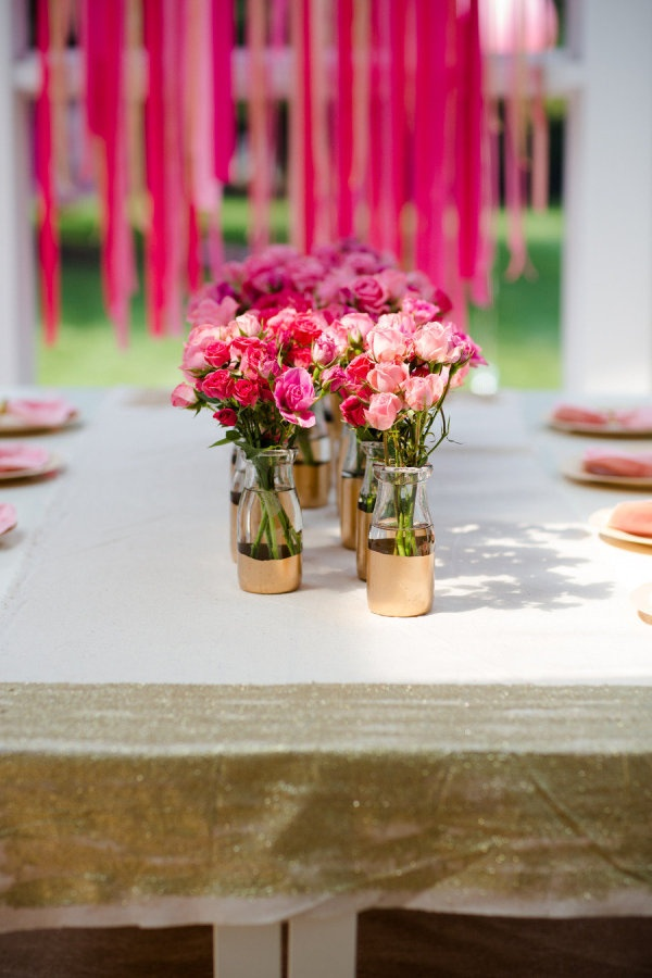Audrey's fourth birthday table! Photography by kariherer.com/Pink Flower, Ideas, Gold Painting, Parties, Milk Bottles, Gold Dipped, Gold Dips, Diy, Painting Vases