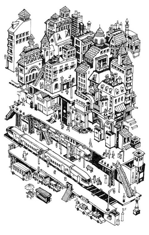 drawingarchitecture:  'Isometric french town and train station' Nigel Sussman