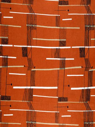 """Springboard furnishing fabric, by Lucienne Day (b.1917) for Heal's. Screen-printed linen. UK, 1954. """