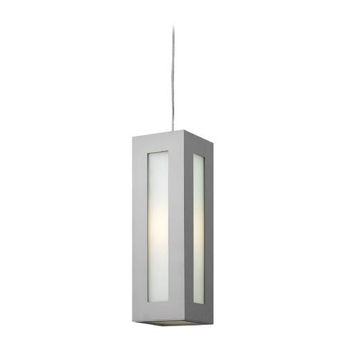 Modern Outdoor Hanging Light with White Glass in Titanium Finish at Destination Lighting