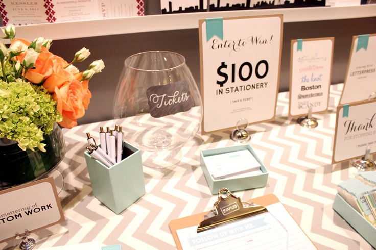 Wicked Bride Stationery booth - DIY bridal show booth signage, table cloth, lighting, logo, florals and shelving