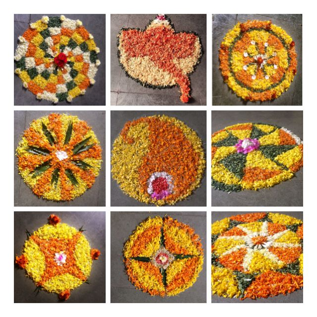 Onam pookalam /flower rangoli designs. I used primarily used marigold and leaves for green colour.