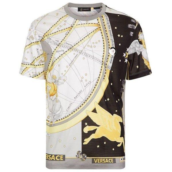 Versace Horoscope Print T-Shirt (47.705 RUB) ❤ liked on Polyvore featuring men's fashion, men's clothing, men's shirts, men's t-shirts, mens print shirts, versace mens t shirt, mens silk t shirts, mens patterned t shirts and mens slim shirts