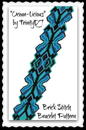 BPBR137a  OceanLicious  Brick Stitch Bracelet Pattern by TrinityDJ, $7.50