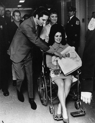 Happy Family Elvis and Priscilla Presley with Newborn Lisa Marie
