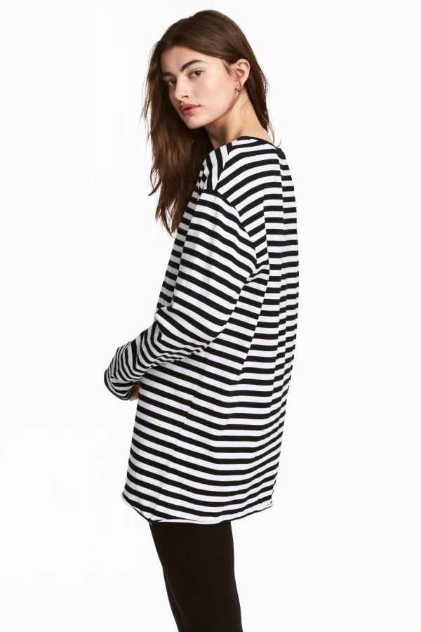 2cdca5de54f77c Oversized Jersey Top | Black/white striped (this isn't for summer i just  love this shirt)