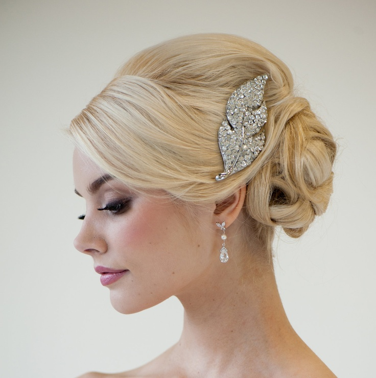 Rhinestone Bridal Hair Brooch, Wedding Hair Accessory, Large Rhinestone Hair comb. $79.00, via Etsy.