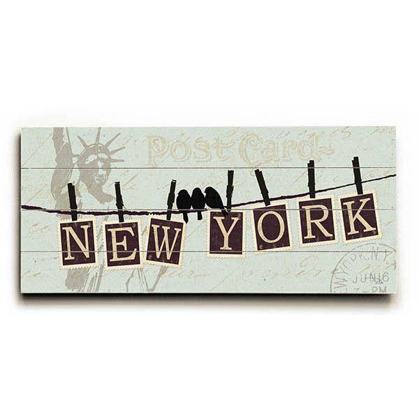 Migration New York by Artist Alain Pelletier Wood Sign