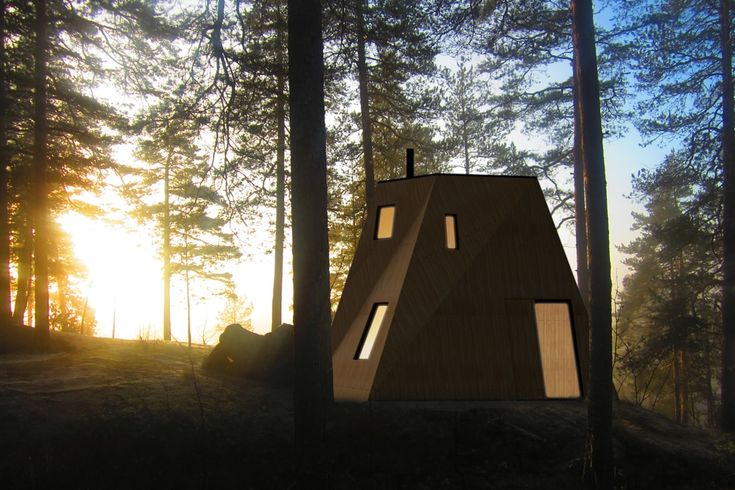 Nexus, the contemporary wooden house, at dusk on a lake in a Finnish forest. The small version of this twisted tower house is concieved as a compact sauna building of 25 square meters.