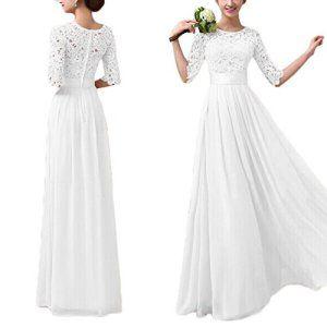F9Q femmes élégantes Parti dentelle formelle cocktail en mousseline de soie robe de bal de mariage Soirée