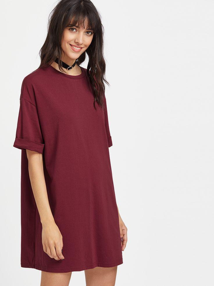 robe épaule Dépouillé - bourgogne-French SheIn(Sheinside)