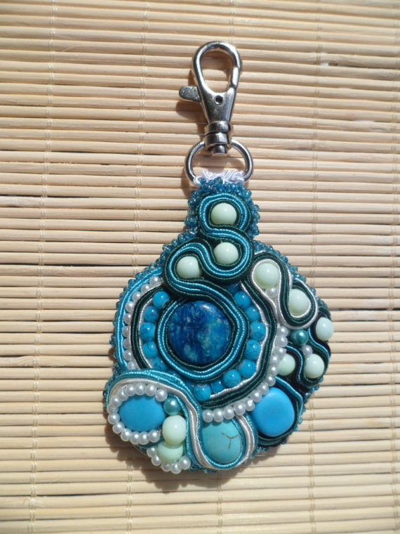Keychain charm Handmade soutache Shades of blue by SoutacheShop