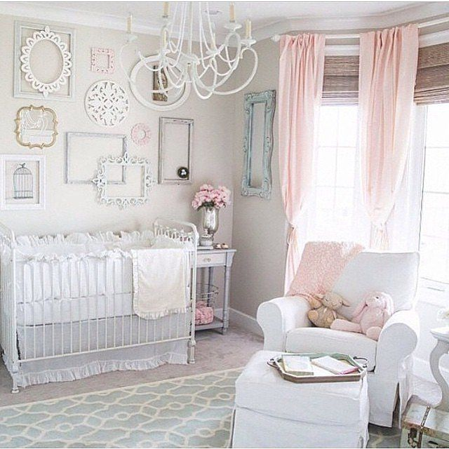 For a pretty pastel theme, pink and white will make any newborn (and mom) happy.