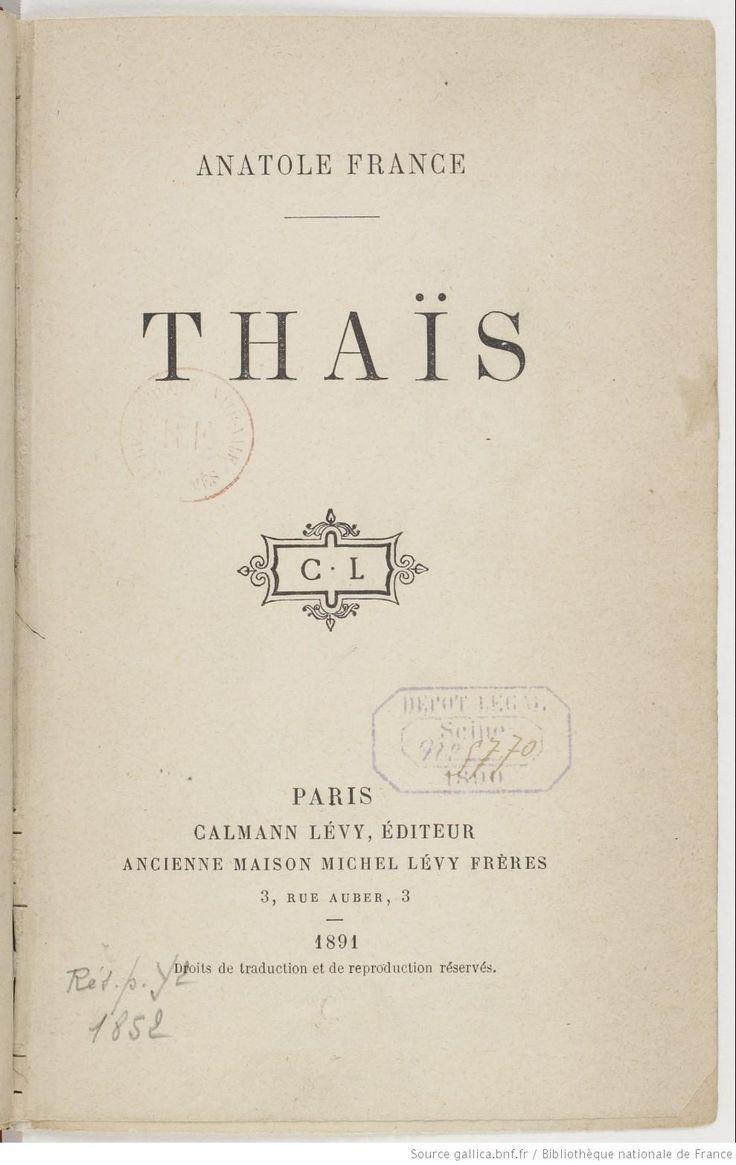 Thaïs / Anatole France, 1891