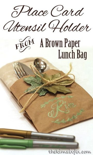Brown Paper Bag Place Card and Napkin Holder made with BIC Mark-It Markers.  A great simple way to set a Thanksgiving table.  #EmeraldGreen #BICMerryMarking #ad