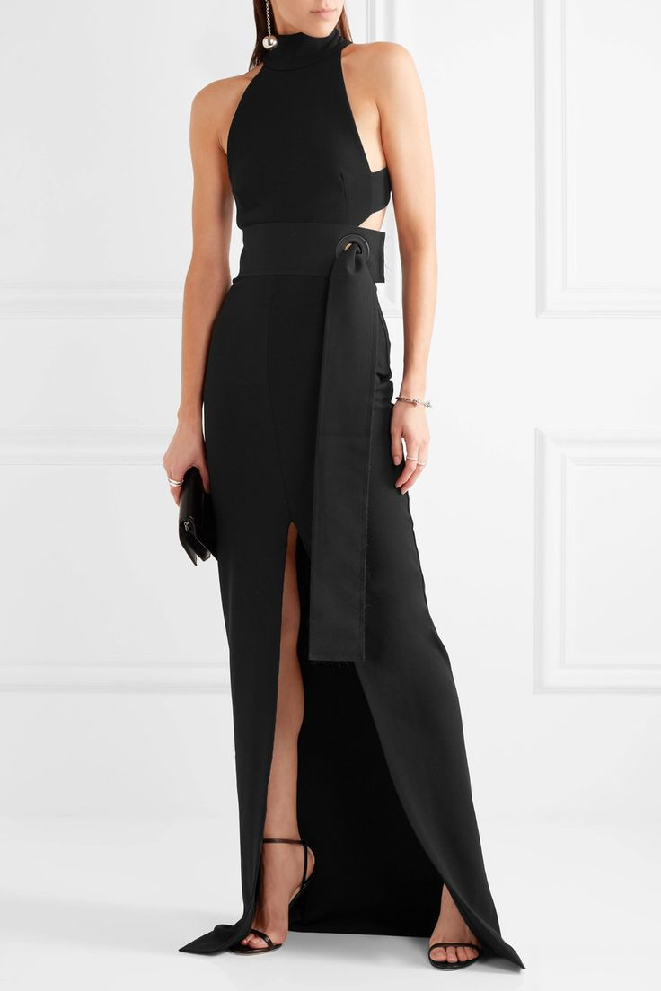 SOLACE LONDON Piper belted cutout stretch-crepe gown