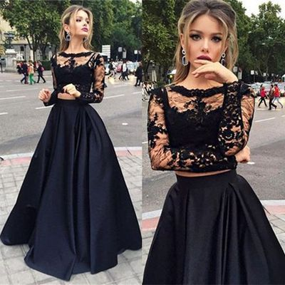 Black two pieces long sleeve prom dress,A-line lace two pieces long prom dress,grad dresses