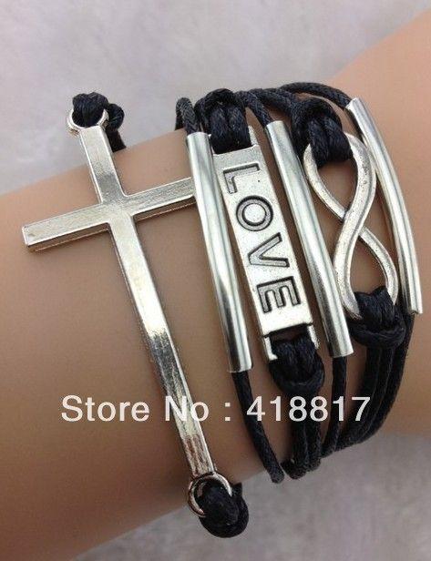 Старинное серебро бесконечность, Любовь, Крест, Воск шнуры браслет бесплатная доставка