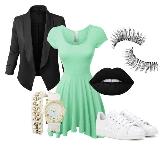 """""""Mint green and black #1"""" by gde-2001 on Polyvore featuring mode, LE3NO, adidas, Lime Crime, Trish McEvoy en Charlotte Russe"""