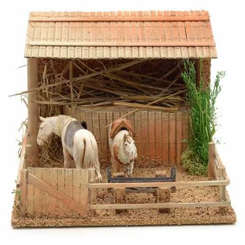 Stall mit Pferde bewegliche Szene 15x23x20cm | Online Verfauf auf HOLYART