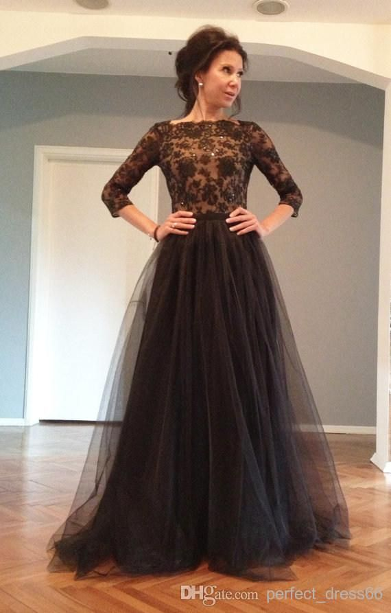 Discount Charming Pageant Evening Dress with Long Sleeve Sheer Bateau Floor Length Black Open Back Lace Evening Dress for Bride Custom Made Dress Online