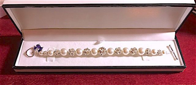 Pearl & Disco ball Bracelet, Mother's Day Gift,Bridal Jewellery, Bridesmaids  £26.99