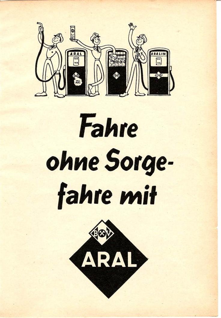 """In dieser Werbung für Aral von 1960 war die Welt noch in Ordnung. Der Tankwart war hilfreich und der Sprit war billig.  Wie sagt mein Papa mal in den 70ern? """"Wenn das Benzin mal 1 Mark kostet, fahr ich Fahrrad!"""" ;o)  #Aral #Benzin #Tankstellen"""