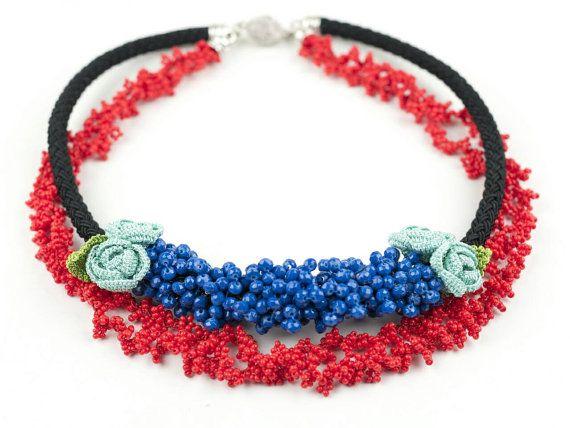 Necklace-Ethnic Handmade Crochet Beaded Necklace Crystal