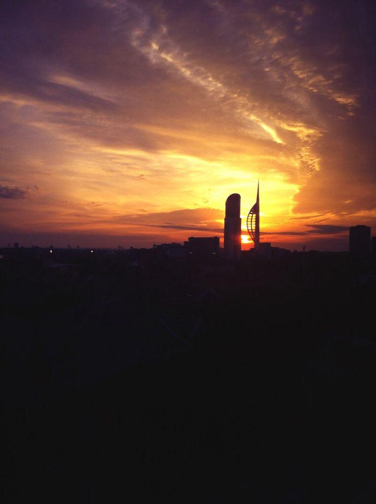Beautiful sunset behind the Spinnaker
