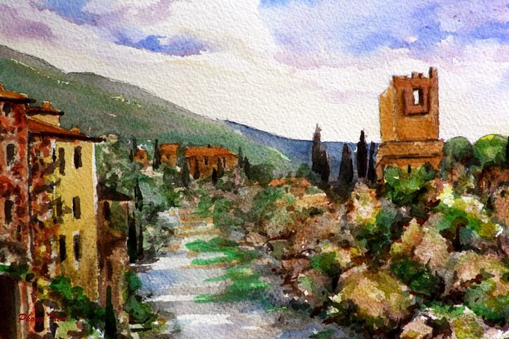 Lagrasse (19) - Phong Trinh Watercolor. More Fine Art Print Available at http://www.artpal.com/phongtrinh/